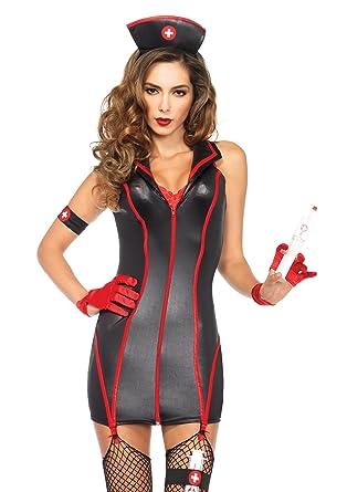 a9906c230eff6 Leg Avenue Women's 4 Piece Heart Stoppin' RN Nurse Costume, Black/Red,