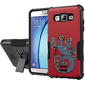 Galaxy [On5] Armor Case [NakedShield] [Black/Black] Urban Shockproof Defender [Kick Stand] - [Tribal Lizzard - Red] for Samsung Galaxy [On5]