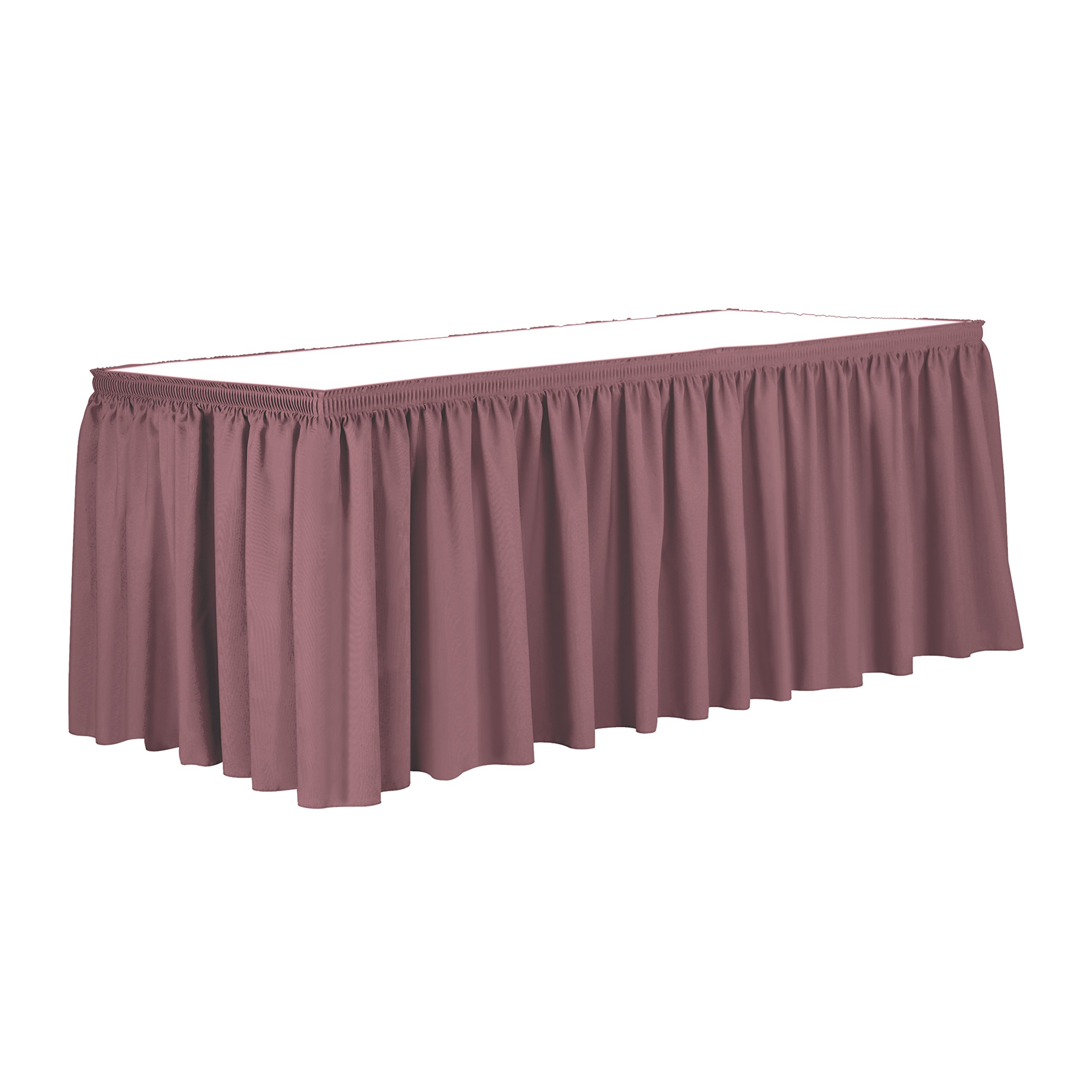 Ultimate Textile 21 ft. Shirred Pleat Polyester Table Skirt Mauve