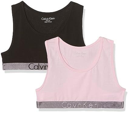 84659878e68 Calvin Klein Girl's 2 Pack Bralette Bustier, Multicoloured (1 Black / 1  Unique 037