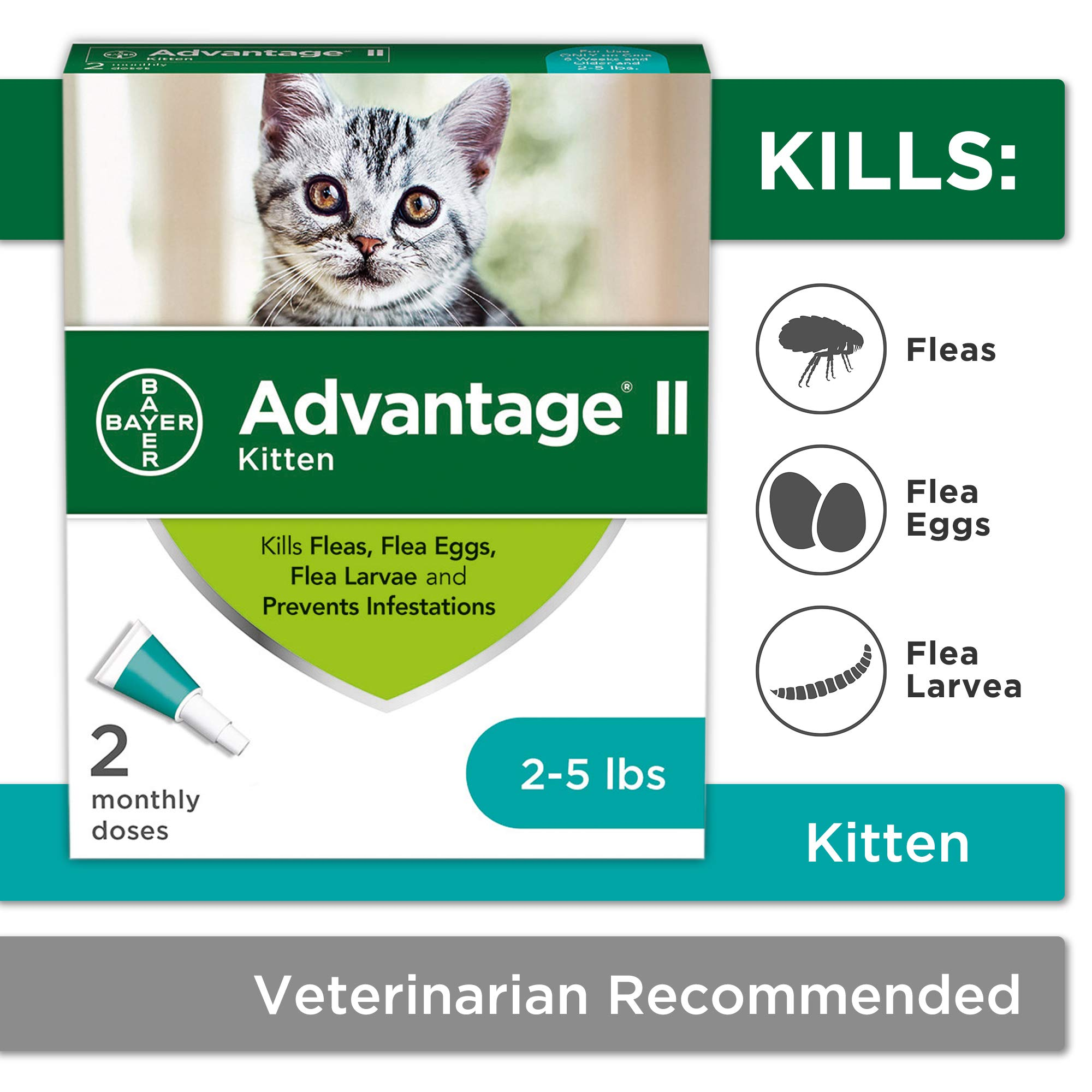 Flea Prevention for Kittens, 2-5 lb, 2 doses, Advantage II by Bayer Animal Health