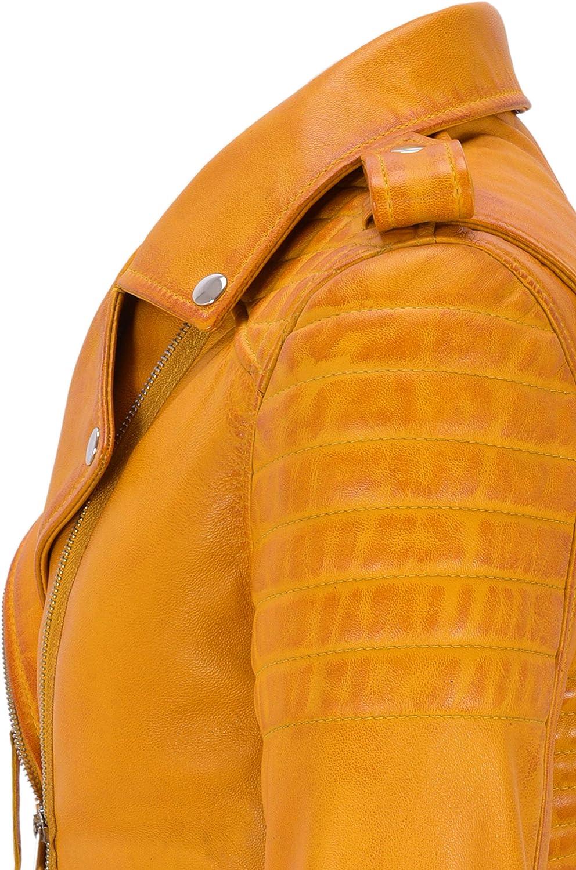 Ltd Smart Range Leather Co Giacca in Pelle da Donna Classico Stile da Motociclista 100/% Vera Pelle Napa 2260
