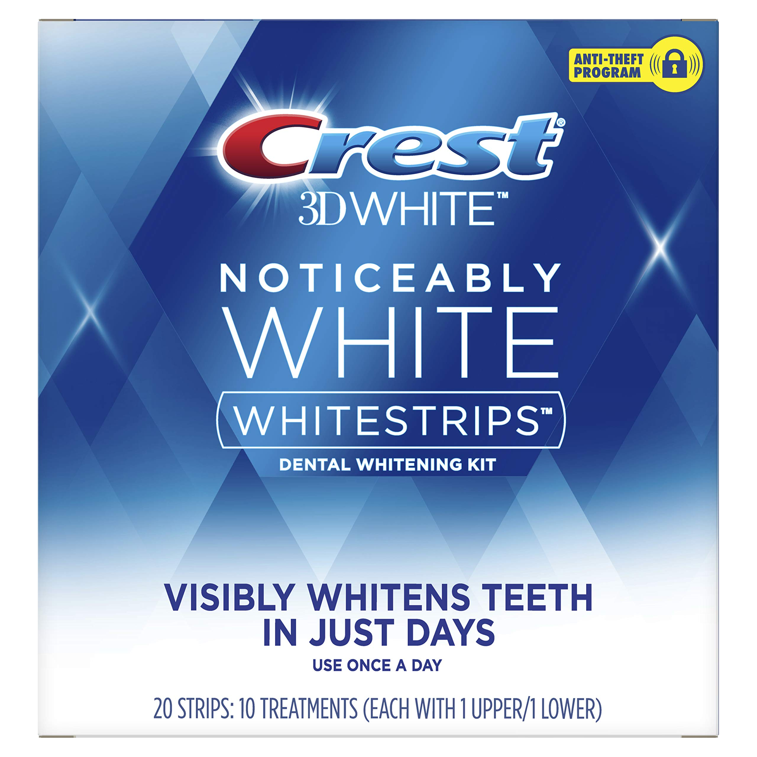 Crest Noticeably White Teeth Whitening Strips, Dental Whitening Kit, 10 Count (Pack of 8) by Crest
