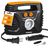Kensun AC/DC Power Supply Portable Air Compressor Pump with Analog Display to 100 PSI for Home (110V) and Car (12V…