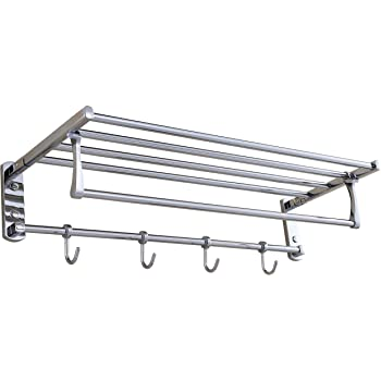 Cavoli Wall Mounted Stainless Steel Towel Rack Shelf with Foldable ...