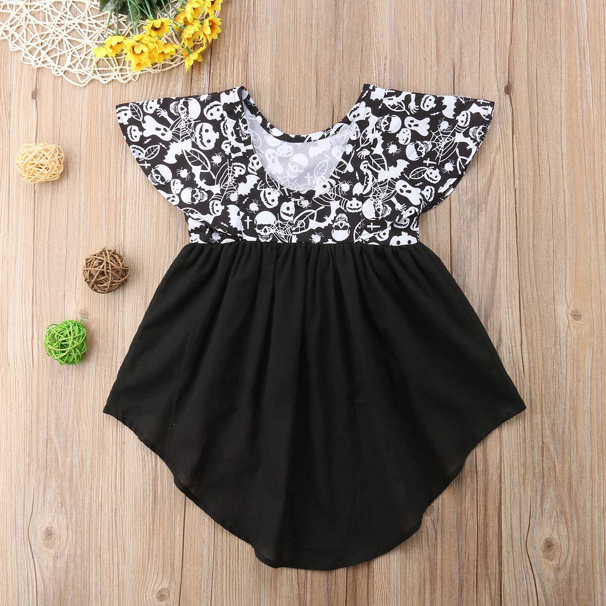 WenaZao Infant Baby Girls Halloween Dress Ghost Print Dovetail Dress