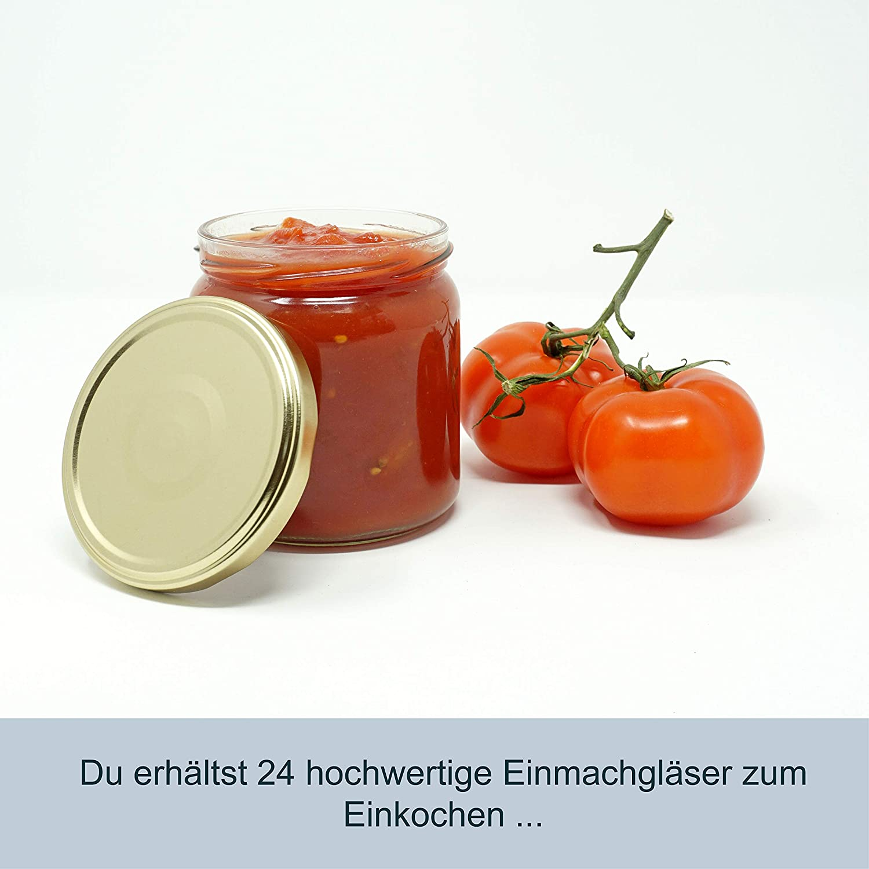 CR Produkte 405 ml con tapas y pegatinas, para conservas, llenar y conservar, ideal para Miel, Mermeladas, Frutas y Verduras Juego de 12 tarros de Mermelada