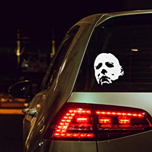 """United by Color Michael Myers Car Decal Creepy Face 5.5"""" White Vinyl Decal Scary Horror Movies Creepy Halloween Movie Stickers for Cars, Laptops, Window"""