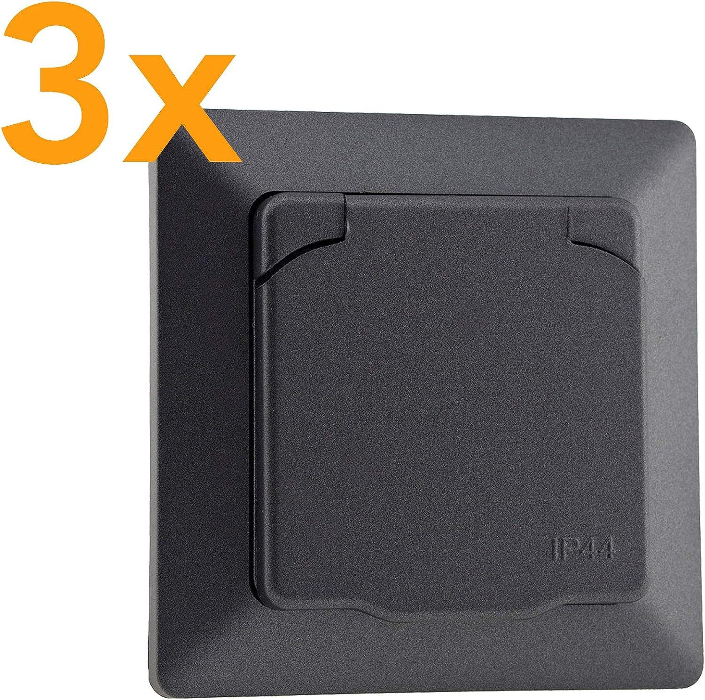 marco de 1 ranura enchufe de protecci/ón con junta de goma Enchufe para exterior IP44 color antracita empotrado con tapa abatible MILOS 230 V//16 A 2 unidades