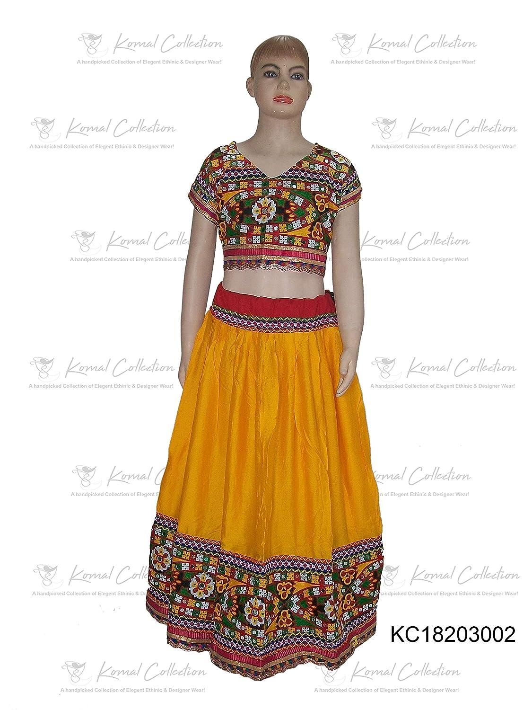 6ea5f060a55b Komal Collection s Girl s Yellow Cotton Chanya Choli Lahenga Choli with Red  Dupatta (KC18203002 Blue 4-15 Years) (7-8 Years)  Amazon.in  Clothing   ...