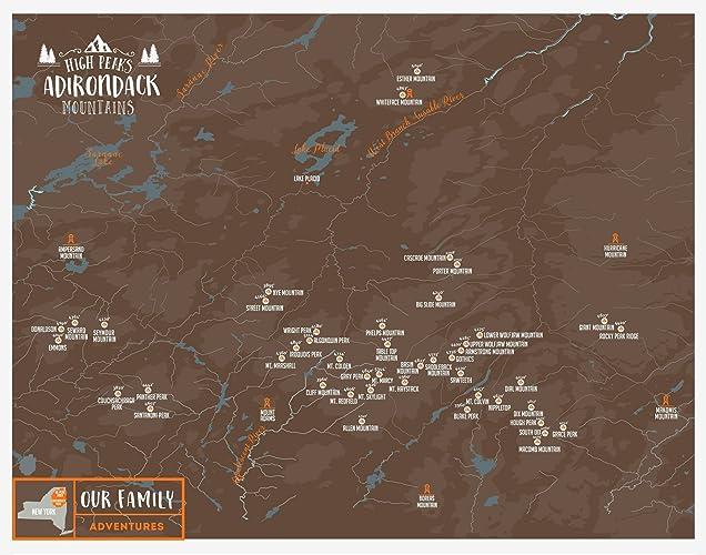 Amazon Com Adirondack Mountains Map 46 Peaks High Peaks Paper