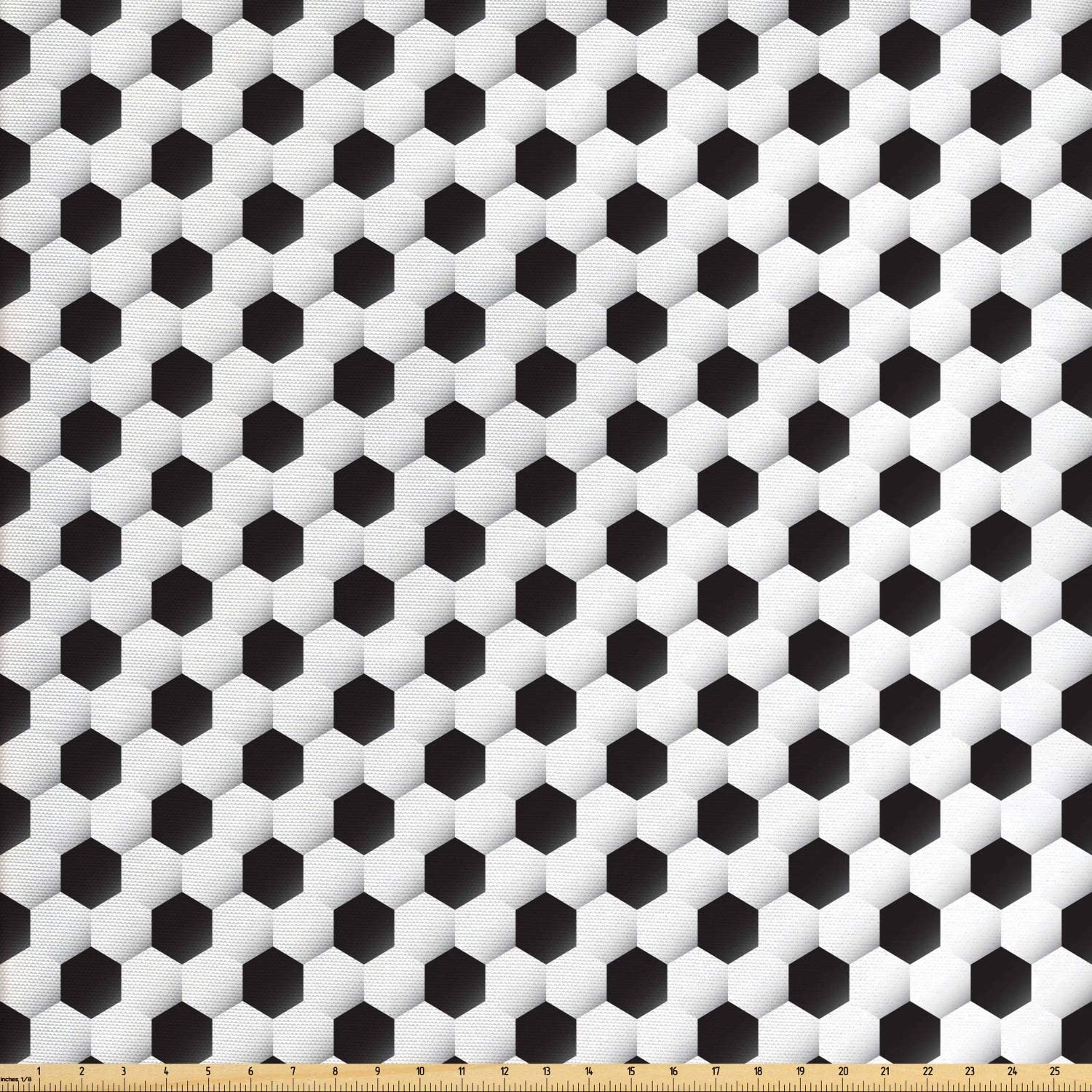 Lunarable Sports Fabric by The Yard, Soccer Ball Vivid Pattern Athletic Sport Themed Geometrical Modern Design, Decorative Fabric for Upholstery and Home Accents, 2 Yards, Grey White