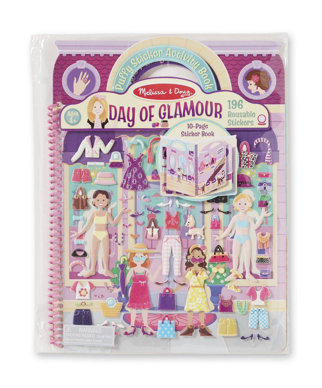 Melissa Doug Puffy Sticker Activity Book Day of Glamour 196 Reusable Stickers