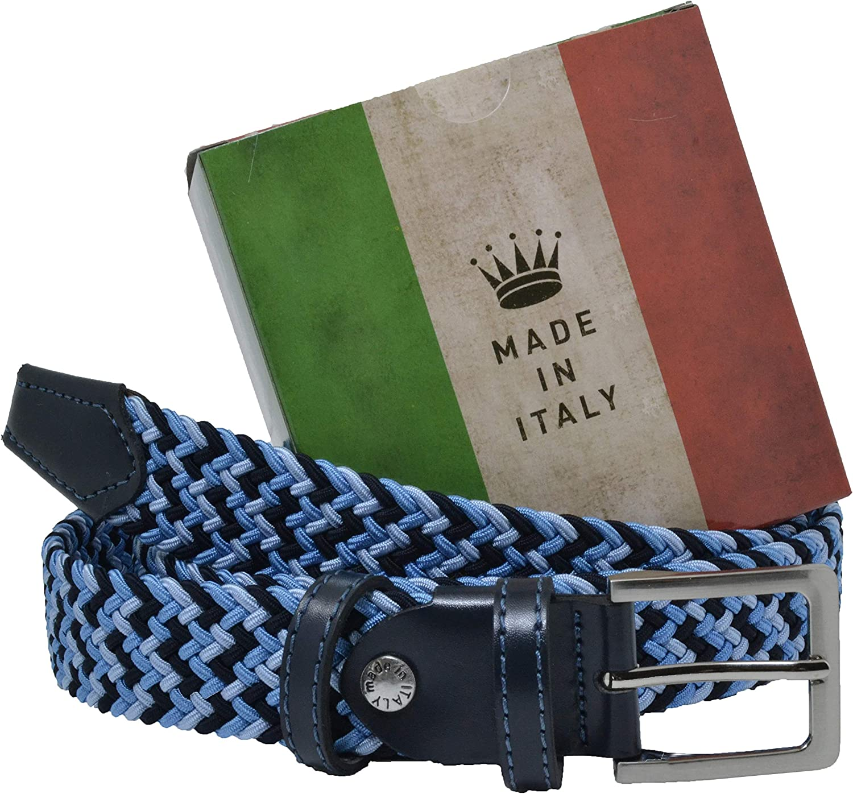 GreSel Ceinture tressée, Femme Homme, en tissu élastique avec insertions en cuir véritable, fabriquée en Italie Mix Bleu Clair