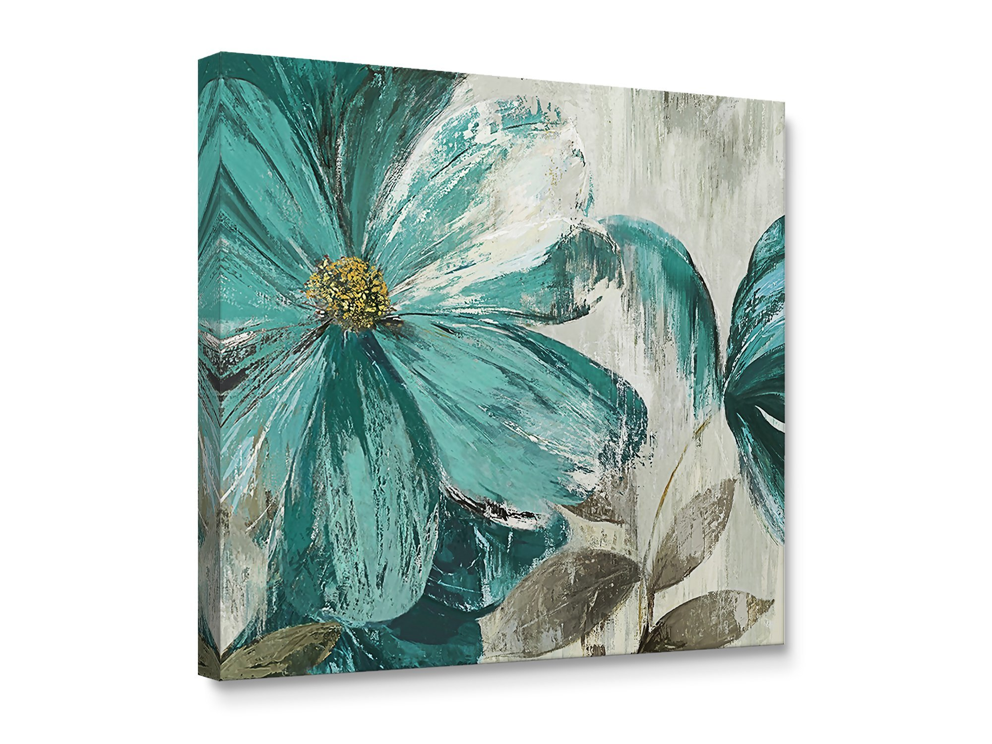 Niwo Art TM - Teal Flower A, Floral painting Artwork - Giclee Wall Art for Home Decor,Office or Lobby, Gallery Wrapped, Stretched, Framed Ready to Hang (16''x16''x3/4'') by Niwo Art
