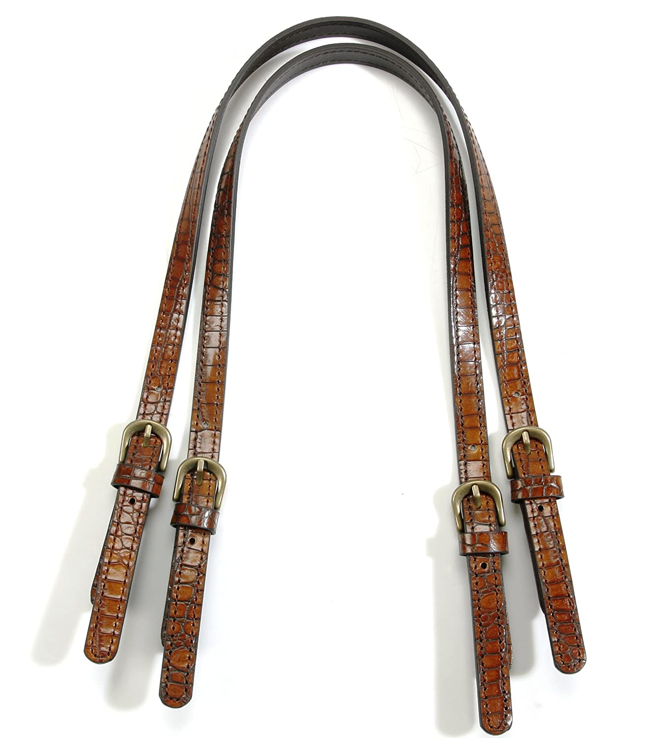 9a7267d55 Amazon.com: byhands Genuine Leather Purse Handles, Bag Strap with Crocodile  Pattern, Brown, 28