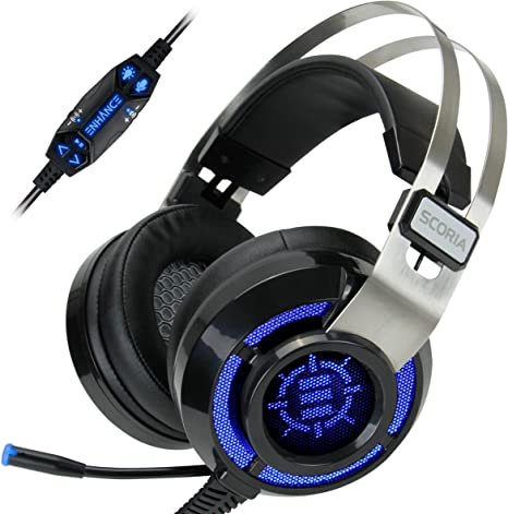 Amazon Com Enhance Manufacturer Refurbished Scoria Computer Gaming Headset Headphones With Usb 7 1 Surround Sound Bass Vibration Adjustable Led Lighting In Line Controls Retractable Microphone Computers Accessories
