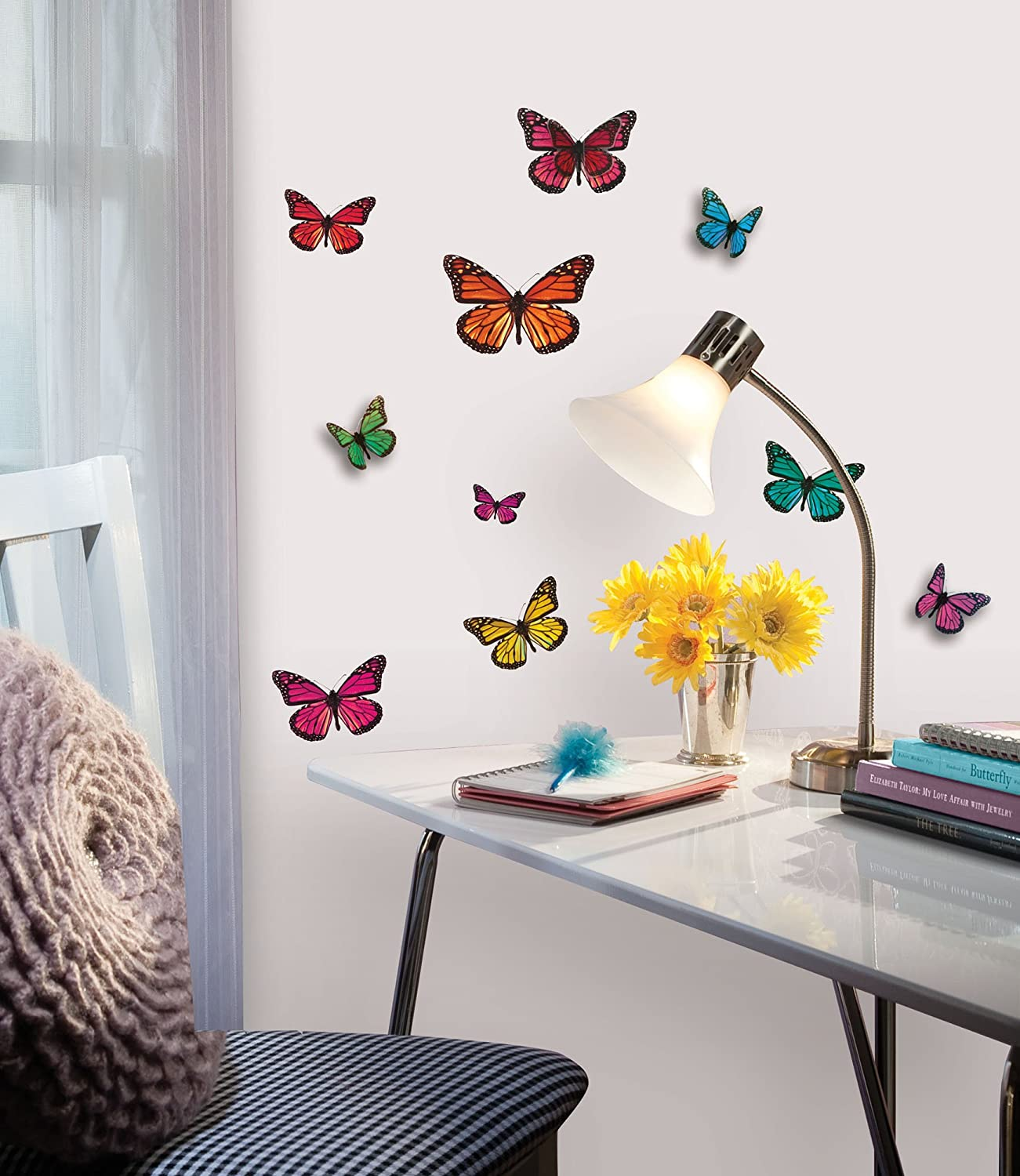 Roommates acc0003b3d butterfly 3 d wall decals 26 count roommates acc0003b3d butterfly 3 d wall decals 26 count decorative wall appliques amazon amipublicfo Images
