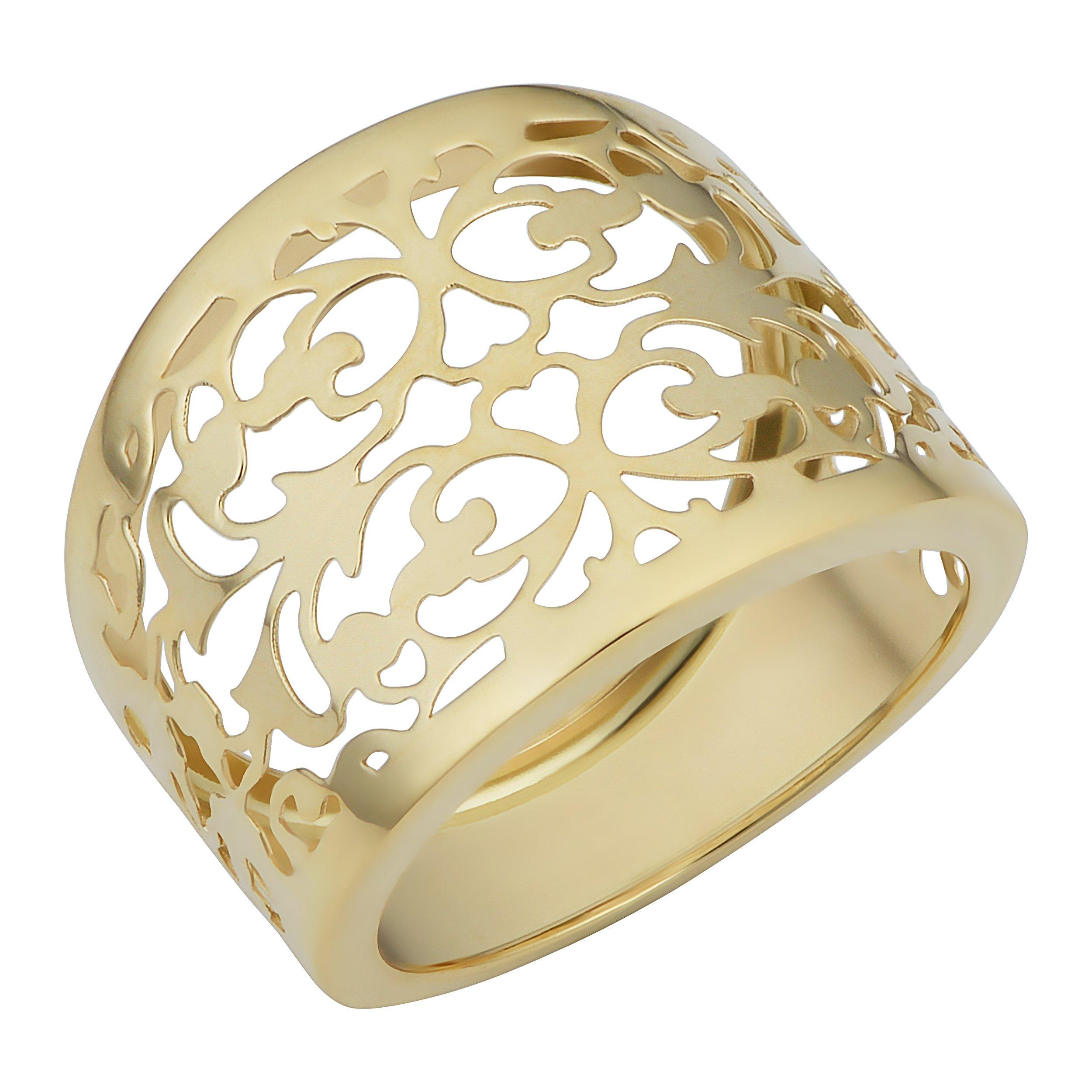 Kooljewelry 14k Yellow Gold Filgree Cigar Band Ring (size 7)
