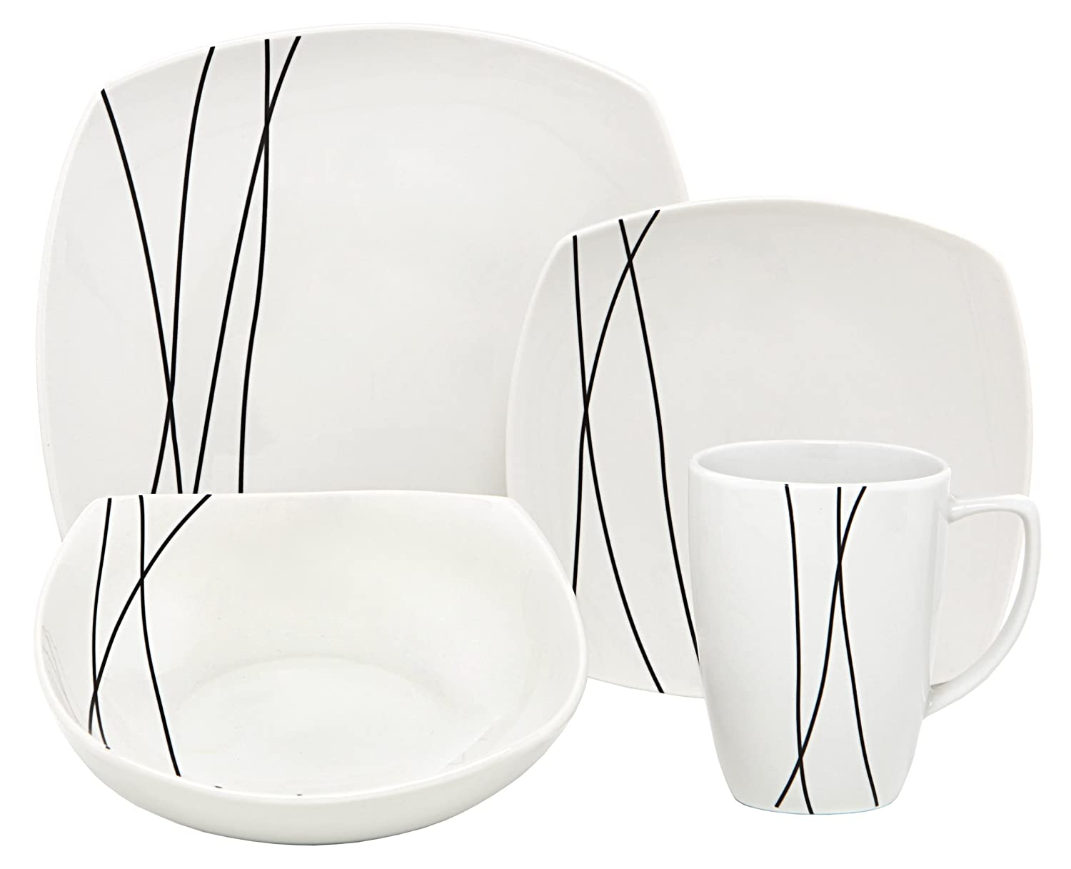 Melange Square 16-Piece Porcelain Dinnerware Set (Black Lines) | Service for 4 | Microwave, Dishwasher & Oven Safe | Dinner Plate, Salad Plate, Soup Bowl & Mug (4 Each)