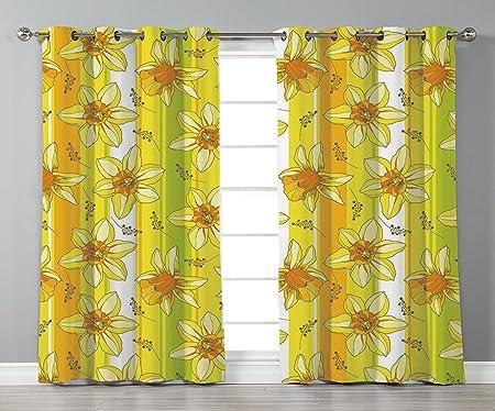 Satin Grommet Window Curtainsyellow Flowerfloral Spring Narcissus