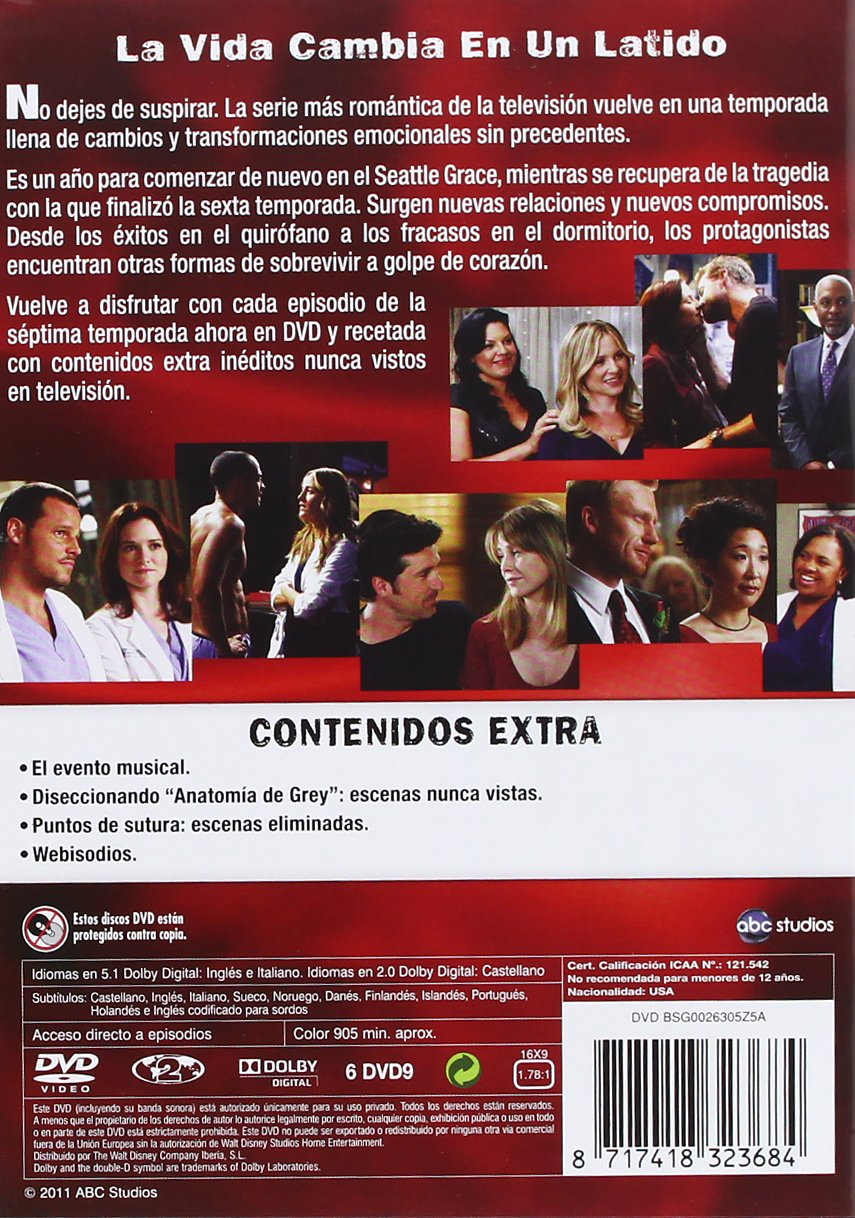 Anatomia De Grey - Temporada 7 [DVD]: Amazon.es: Kate Walsh, Chandra ...