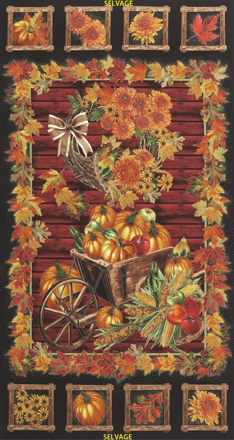 Timeless Treasures Harvest CM3211 Black with Gold Highlights 24 Panel