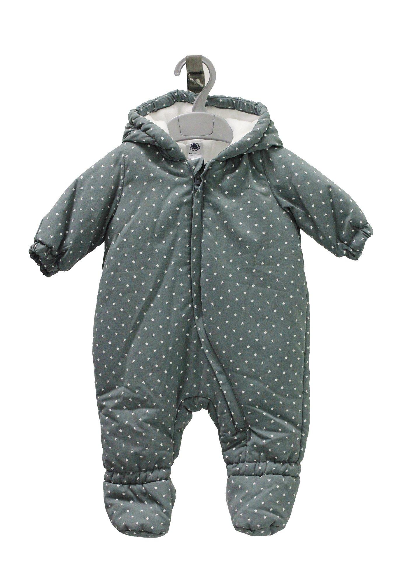 Petit Bateau Kids Grey Star Bodysuit Footie 14622 (12 Months ( 74 cm ))