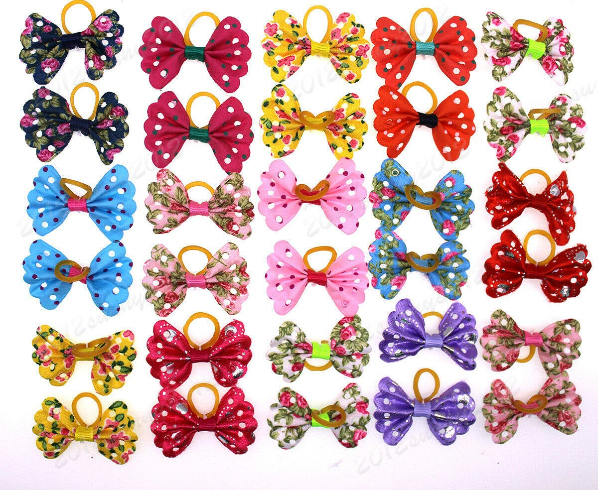 FidgetGear Popular New Pet Dog Hair Bows Small Bowknot Nice Style Pet Grooming Bows Topknot Mixed Colors 100pcs