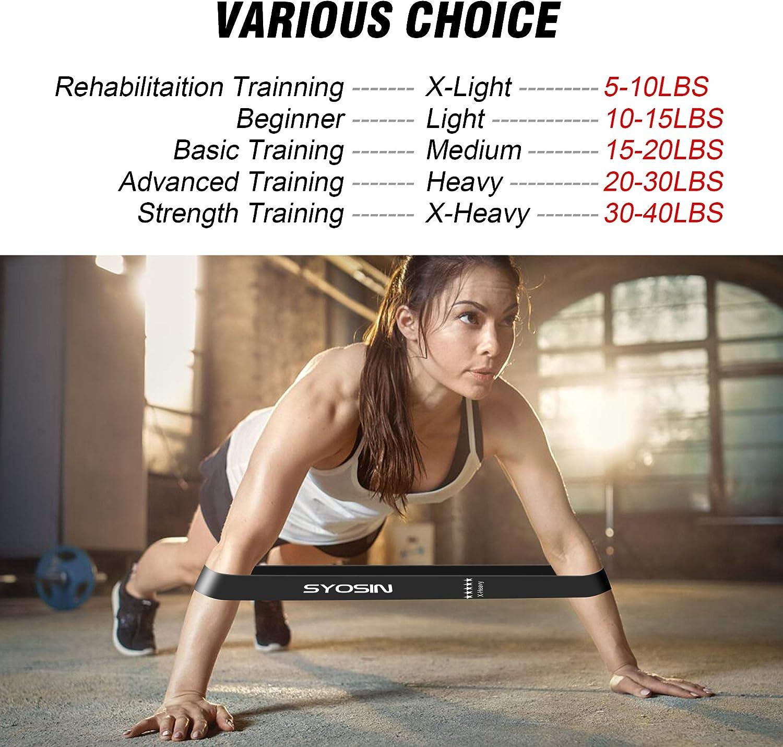 Bande pour R/é/éducation Exercices//Musculation//Pilates//Yoga SYOSIN Bande de R/ésistance /Élastique, Bande de R/ésistance /Élastique en Latex Naturel /Équipement Lot de 5 Sac /à Cordon Inclus