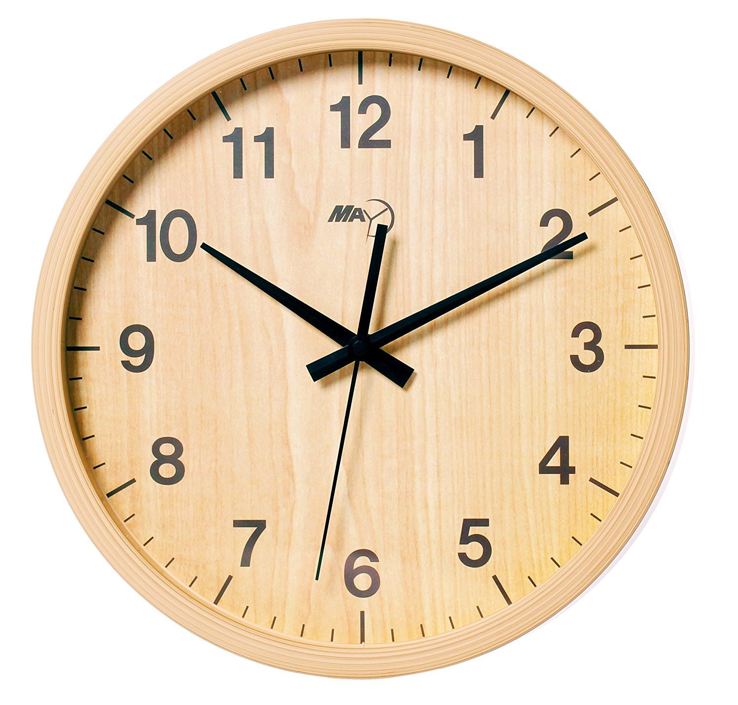 MAY Indoor Imitate Wooden Simple Modern Silent Sweep Movement Round Wall Clock for Office Dinning Room 12 Inches Woodcolor