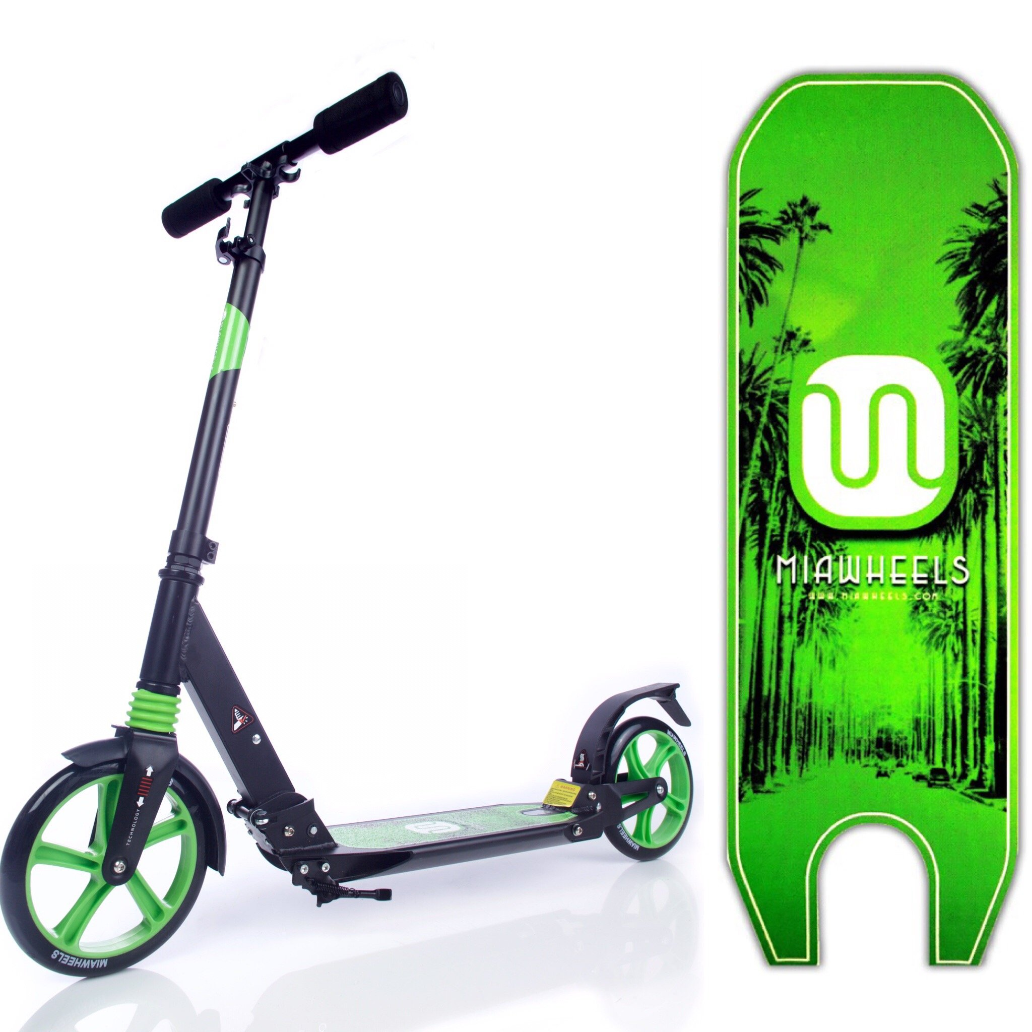 MIAWHEELS Black/Green Adjustable & Foldable + Suspension+ Strap+Reflective+ Long Rear Brake, Aluminium Kick Scooter