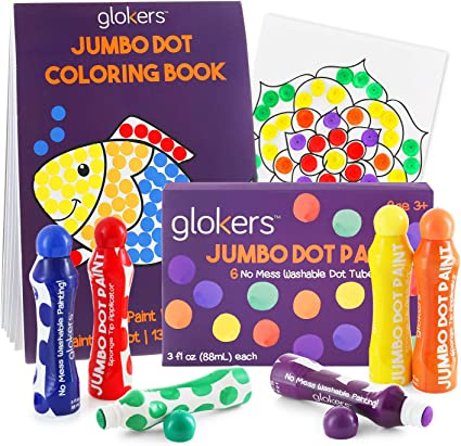 glokers Jumbo Dot Coloring Book for Kids Children Educational Art Supplies Works with Dab Markers Creative Interactive Activity Books for Toddlers 25 Pages of Different Shapes and Colors