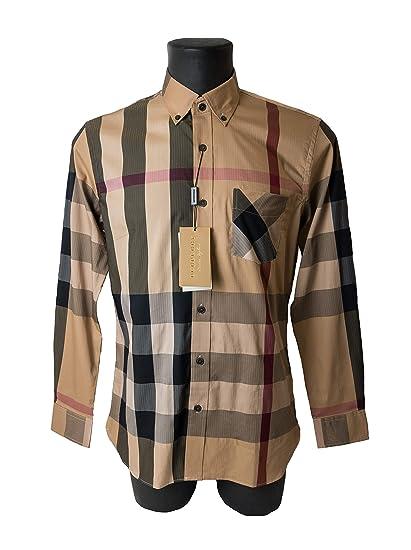 fb0f45966773 Burberry Button-Down Collar Check Stretch Cotton Blend Shirt  Amazon ...