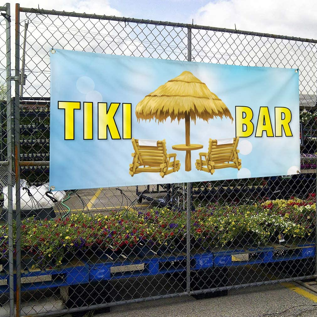 Vinyl Banner Sign Tiki Bar #2 Lifestyle Tiki bar Outdoor Marketing Advertising Aqua-Blue Set of 3 24inx60in Multiple Sizes Available 4 Grommets