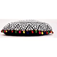 """Decorative Ombre Mandala White Black Floor Pillow Cover Room Cover Meditation Cushion Cover 32"""" Inch Exclusive By Handicraft-Palace"""