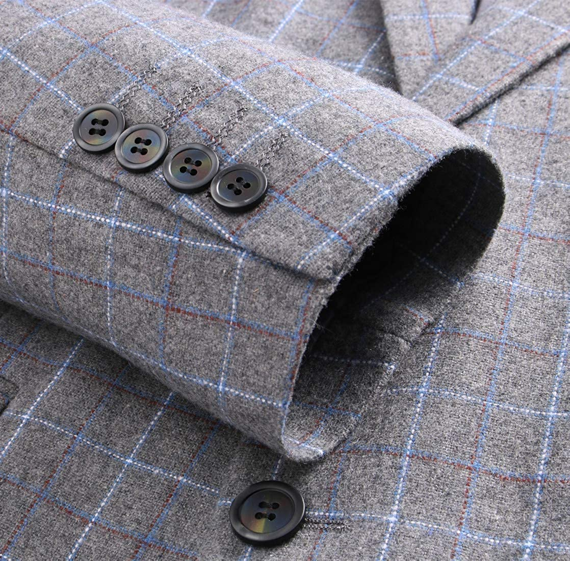 MOGU Men Suits 3 Piece Slim Fit Plaid Blazer Jacket Tux Vest Pants Set