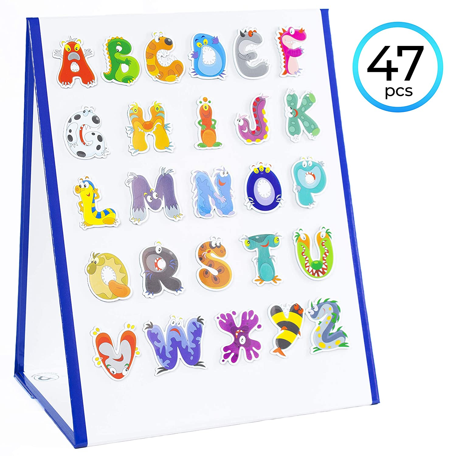 FauxPeony Kids Whiteboard Double-Sided Magnetic White Board   Dry Wipe Easel Children Art A3 Chalkboard   With Markers, Letters and Numbers   Drawing, Developing Handwriting, Improving Motor Skills