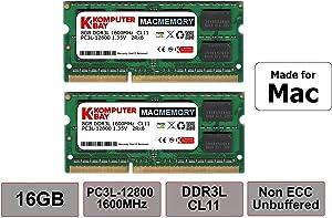 Komputerbay MACMEMORY 16GB (2x8GB) DDR3 / DDR3L 1600MHz SODIMM PC3L-12800 2Rx8 Dual Rank 1.35V CL11 204-Pin Non-ECC Unbuffered Notebook Laptop RAM Memory Upgrade Kit