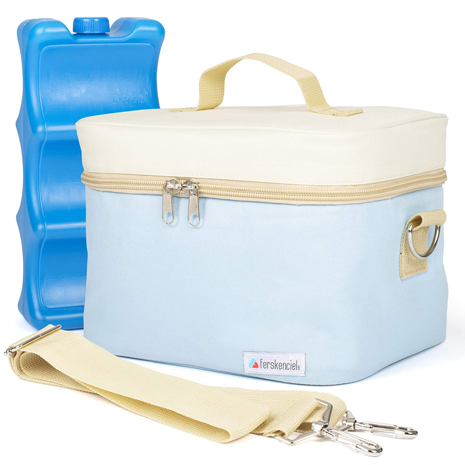 Ferskenciel Breastmilk Cooler Bag (Morning Sky) - Large Portable Insulated Storage with Ice Pack for Baby Bottles, Food & Drinks - Easy-Wipe Lining, Shoulder Strap, Double Zippered Carry Tote - 8-Hour
