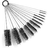 9.8 Inches Nylon Tube Brush Set, Nylon Bottle Cleaning Brush Set, 12 Pieces Variety Pack for Glasses Drinking Straws, Keyboar