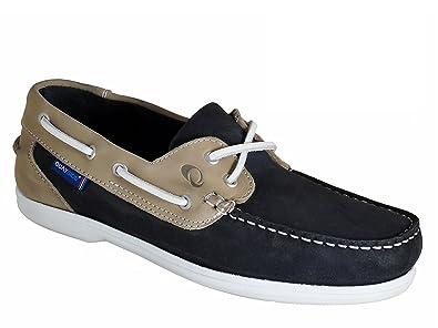 QUAYSIDE Portugiesisch Damen Leder Bootsschuhe Marineblau/Beige EU 36 p8et8V