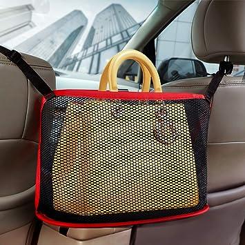 Leather Car Handbag Holder Between Car Seat Storage Seat Back Net Bag Handbag Holder Attaches to Headrest Barrier of Backseat Pet Kids Car Mesh Organizer Driver Storage Pouch Black