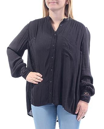 7891802ec188c Free People Womens Crochet Back Gauze Button-Down Top Black S at ...