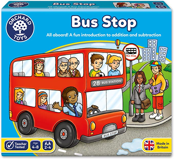 Orchard Toys Bus Stop Game,Orchard Toys,032,Games, Children's Games,adding, subtracting, maths, race, red bus