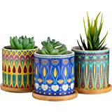 Dsben 3.2 Inch Succulent Plant Pots, Small Mandala Style Flower Ceramic Planter Indoor with Bamboo Tray for Cactus, Herbs, Home, Set of 3