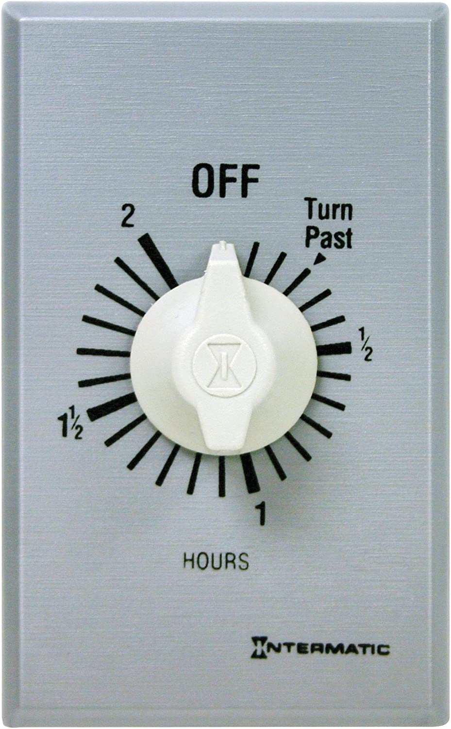 Intermatic FF2H 2-Hour Spring Loaded Wall Timer, Brushed Metal Finish