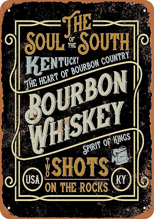 HiSign Kentucky Bourbon Whiskey Retro Cartel de Chapa Coffee ...