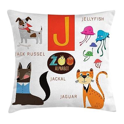 Baozj ABC Kids Throw Pillow Cushion Cover, Learn Alphabet ...
