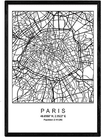 Nacnic Imprimer Plan De La Ville De Paris Style Scandinave En Noir Et Blanc Cadre Daffiche De Format A3 Papier Imprimé No 250 Gr Peintures